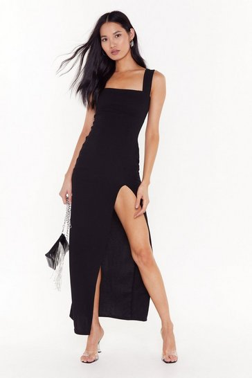 Womens Black Square With Me Maxi Dress