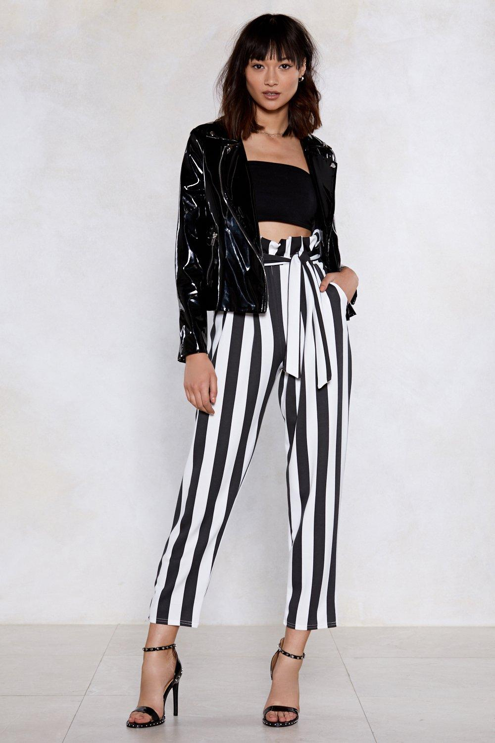 Strong Silent Stripe Paperbag Pants by Nasty Gal