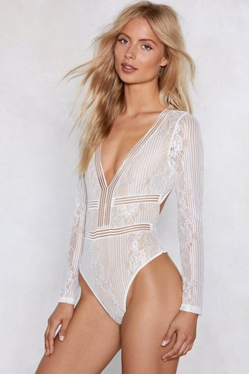 Womens White Love On the Brain Lace Bodysuit