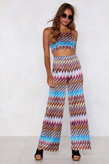 Womens Blue Heading in Our Direction Chevron Crop Top and Pants Set