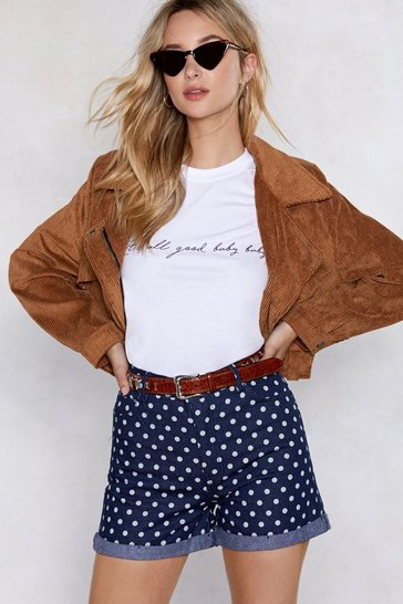 Womens Dark blue You're Dot the Boss of Me Polka Dot Denim Shorts