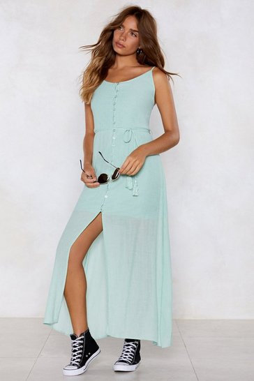 Womens Sage Down and Out Maxi Dress