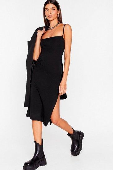 Black Fitted Square Neck Midi Dress