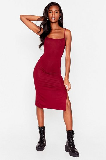 Burgundy Square's No Going Back Slit Midi Dress