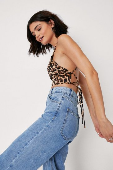 Womens Brown Party Animal Leopard Crop Top