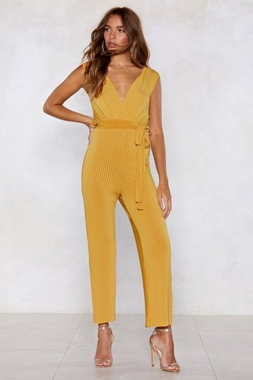 Womens Mustard Good Pleats Bad Wide-Leg Jumpsuit