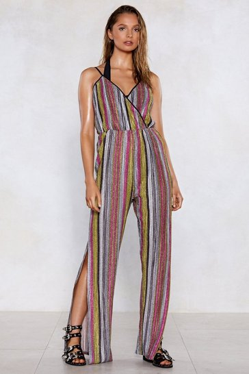 Womens Pink You're Doing Just Shine Striped Jumpsuit