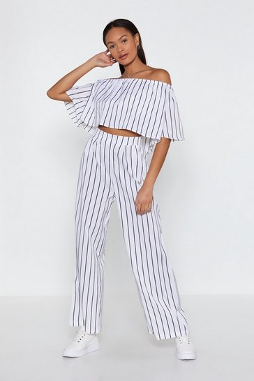 Womens White Stripe Off-Shoulder Top and Pants Set