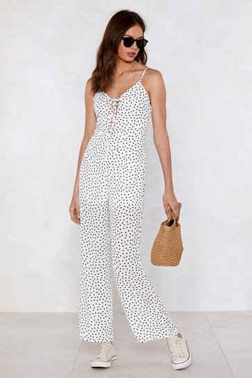 Womens White Dot My Mind Set On You Polka Dot Jumpsuit