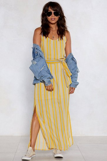 Womens Yellow On the Right Lines Striped Dress