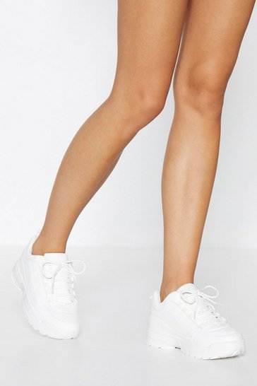 White Chunky Faux Leather Trainers