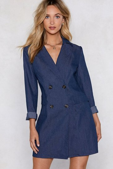 Blue Mind Your Business Denim Blazer Dress