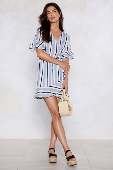 Womens Grey Such a Nautical Girl Striped Dress