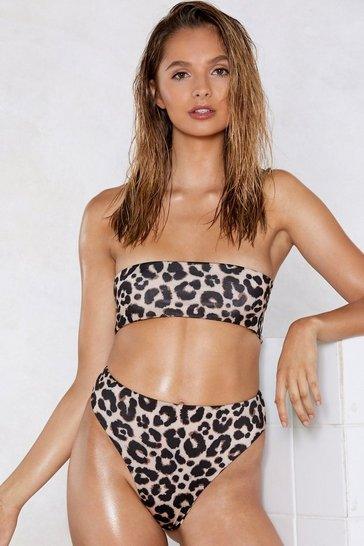 Brown Stalking the Sun Leopard Bikini Top