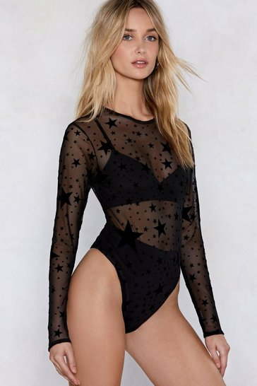 Womens Black How Star Will You Go Sheer Bodysuit