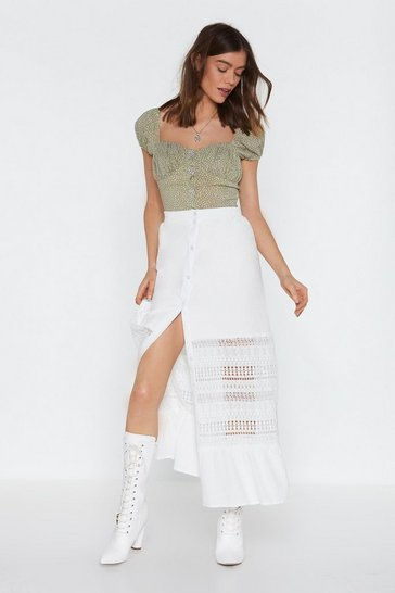 Womens White Let's Head Back to Lace Maxi Skirt