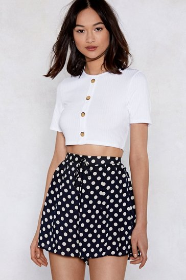 White Button Top of the World Cropped Top
