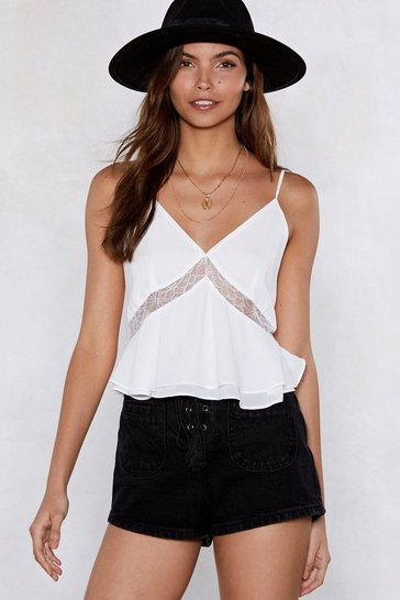 Womens White Right Lace Right Time Cami Top
