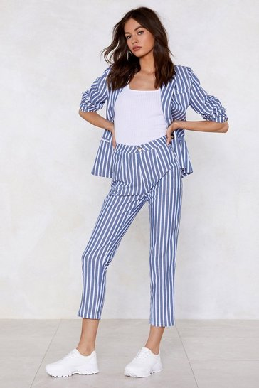 Womens Blue Line of My Life Striped Trousers