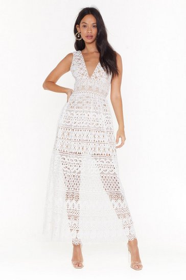 White Lace Midi Dress with Plunging V-Neckline