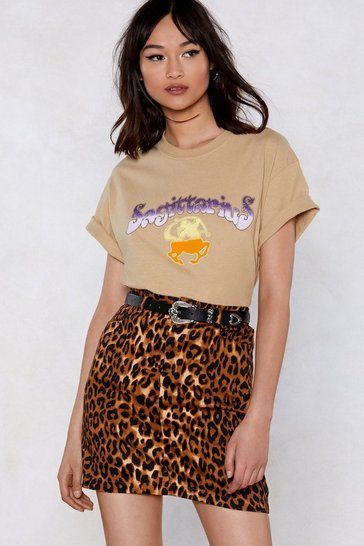 Womens Brown Animal Instincts Leopard Skirt