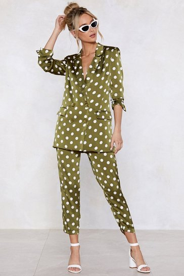 Womens Going Somewhere Green Polka Dot Trousers