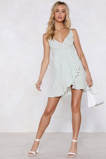 Womens Sage Vacay Romance Gingham Dress