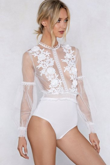 White I'll See to It Floral Bodysuit