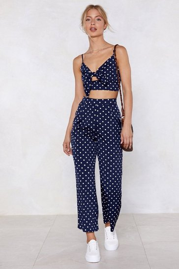 Navy Polka Dot Bralette And Pants Set with Tie Closure