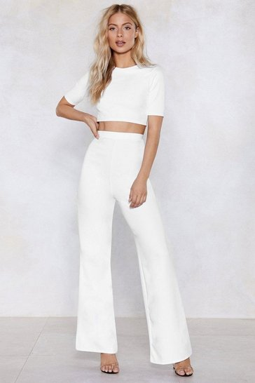 White Settle the Score Crop Top and Pants Set