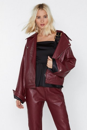 Maroon Ride Faux Leather Moto Jacket