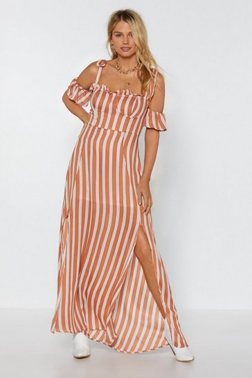 Peach Sleeve It to Chance Striped Dress