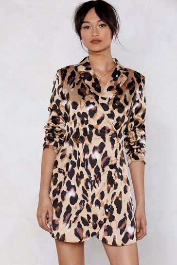 Womens Sand So Fierce Leopard Blazer Dress