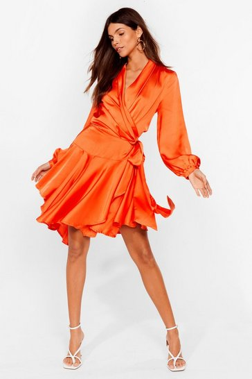 Orange Hey Girl What's Satin-ing Wrap Dress