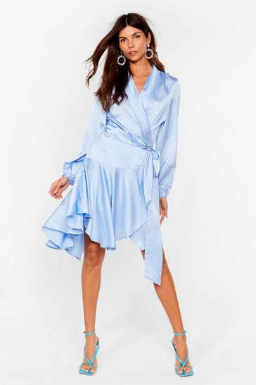 Pale blue Satin Wrap Mini Dress with Ruffle Detailing