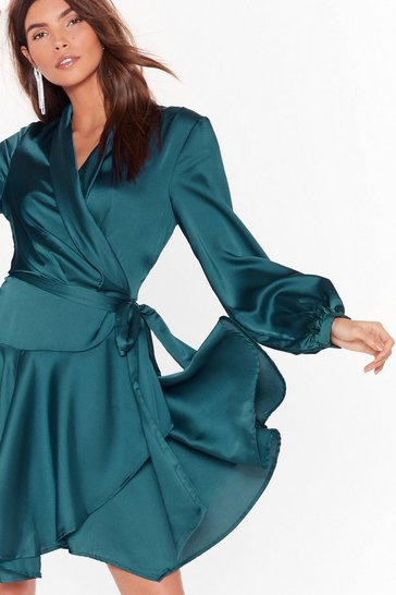 Teal Satin Lobg Sleeve Wrap Dress