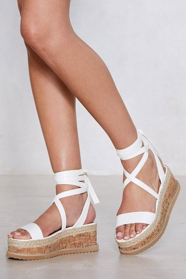 Womens White Enough with the Cork Platform Sandal