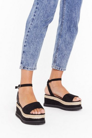 Black What Goes Up Platform Sandal