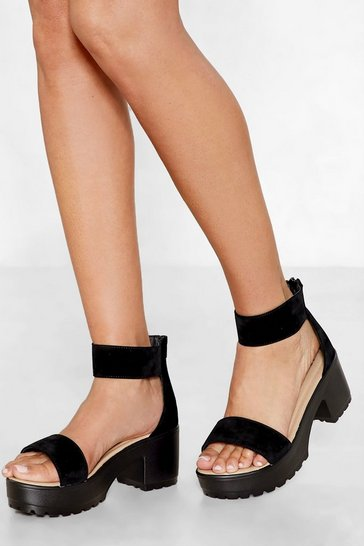 Black Open to Suggestions Faux Suede Sandal
