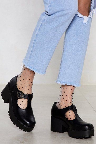 Black Head T-the-Bar Chunky Cleated Mary Jane Shoes