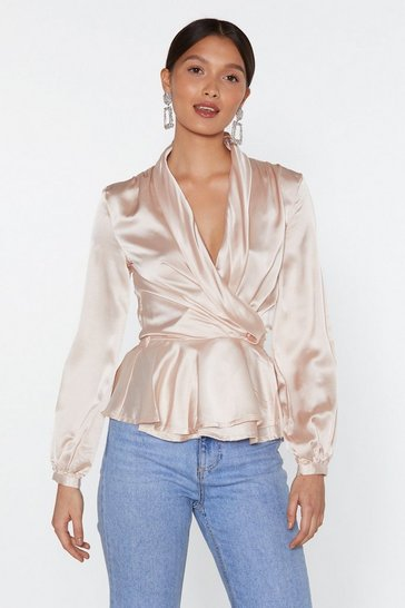 Womens Nude Sleek Me Out Satin Top