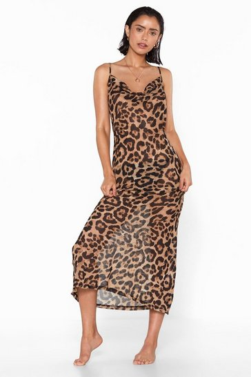 Womens Brown Take a Wild Guess Leopard Cover-Up Dress