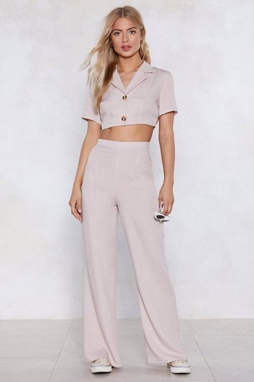 Womens Natural Cute as a Button Wide-Leg Pants