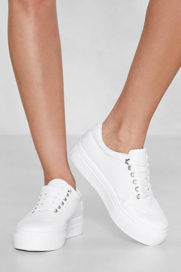 Womens White Croc With Me Faux Leather Platform Sneaker