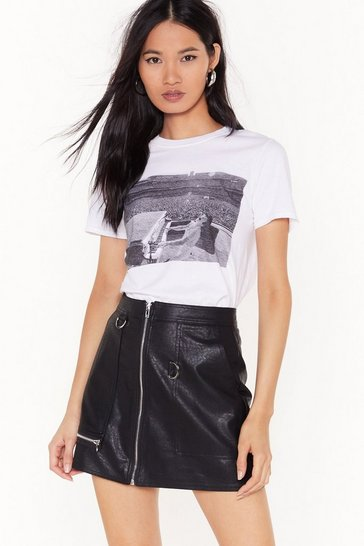 Black Zip Up Your Troubles Faux Leather Skirt