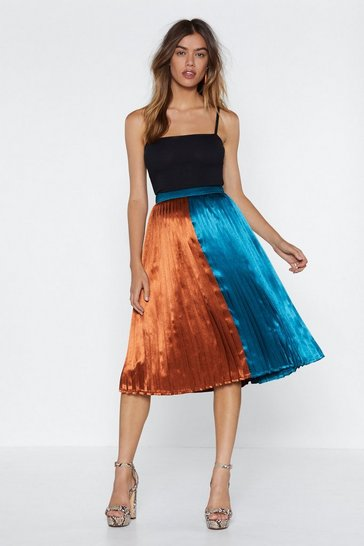 Womens Teal Going Fifty Fifty Midi Skirt