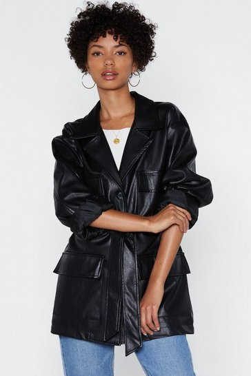 Black Faux Leather Relaxed Belted Jacket