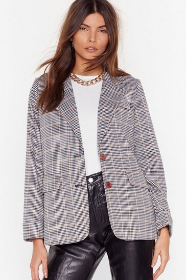 Womens Black Nobody's Business Plaid Blazer
