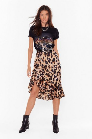 Womens Brown So Fierce Leopard Skirt