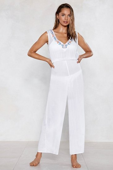 White Life's a Beach Embroidered Cover-Up Jumpsuit